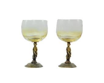 Vintage Brass Cherub Glassware, Vintage Barware, Amber Wine Glasses, Brass Cherub, Cottage, Shabby, Wedding, Anniversary, Hollywood Regency