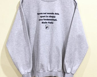 Rare!!! Vintage 90's Fila Sweatshirt Fila Big Logo Spellout Embroidery Jumper Pullover Sweater Sportwear