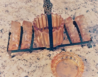 1930's Peach Depression Glass (Jeanette Glass) Personal Size Ashtray / Coaster Set with Brass Holder