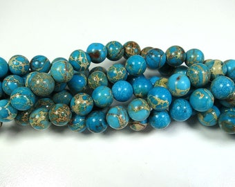 "Natural Blue Sea Sediment Jasper Beads 8mm Round Turquoise Imperial Impression Stone 15.5"" Full Strand"
