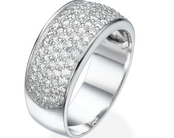 14K White gold band ring set with natural diamonds