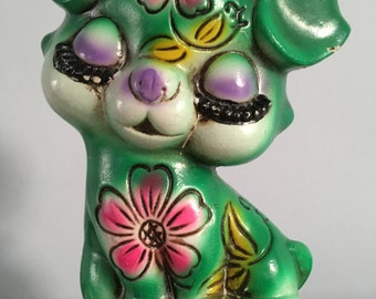 Vintage Collectible Green Dog Ceramic Piggy Bank Spaarpot Kitsch Retro