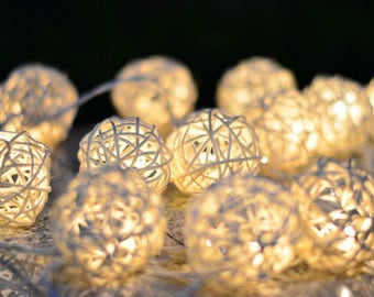 Rattan Balls, Fairy Lights, String Lights Wedding, Bedroom, Rattan Ball String Lights, Fairy String Lights, String Lights Outdoor