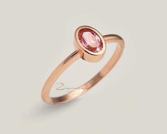 Oval Thin Rose Engagement Ring 14k solid gold ring Delicate