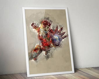 "SALE | The Iron Man Avengers Water Colour Original Digital Poster *Enter ""DUDESAVE15""  on checkout for 15% off"
