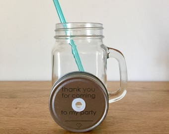 Thank you for coming to my party, personalised party favour lidded cups