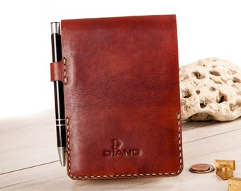 Leather Notebook Cover. Gift for Him. Hand Stitched. Moleskine Reporter , Veg Tan Italian Leather.A6 siz