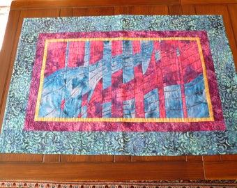 Waves  patchwork wall hanging quilt - table topper quilt - convergence quilt - modern art quilt