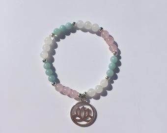 Pastel lotus charm bracelet