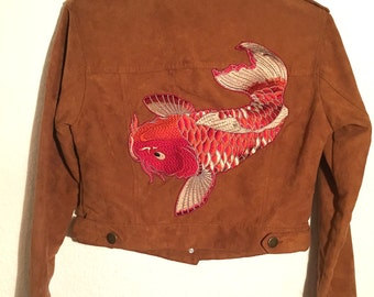 Brown suede jacket with Koi embroidery