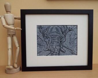 Elephant Lino cut print hand crafted 2 colour limited edition original