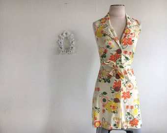 Vintage // 1970's // Summer Day Dress // Extra Small // Small