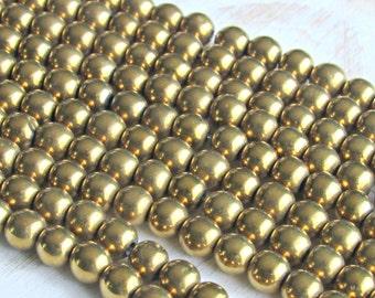 6mm magnetic hematite, 6mm gold hematite, full strand, gold plated, 6mm beads, jewelry supplies, mala beads, Jewelry supplies, beading beads