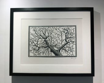 Second Oak - Original Lino Print