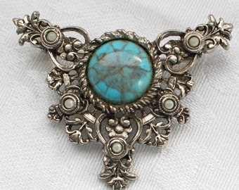 Sarah Coventry Silver Tone Brooch with Turquoise