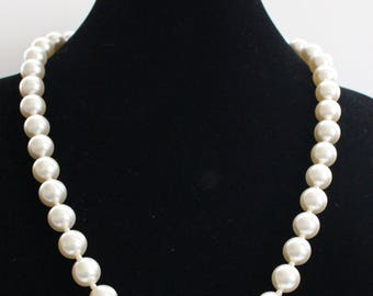 JBN # 16 Single Strand Necklace of Large Pearl-Like Beads Marked Japan