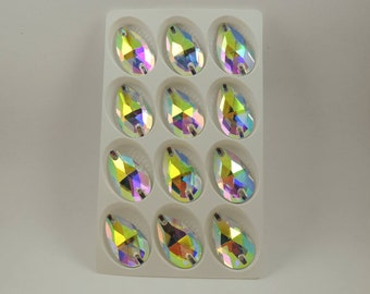 AB tear drop sew on glass crystals  17x28mm