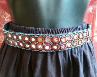 Ethnic belt with mirrors and beads, belt, belt boho