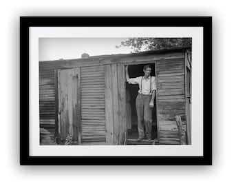 Photo Print of Migrant Dweller, Photography, Depression, War, Poverty, Hooverville, Ohio, History, Black and White, Immigrants, Cabin, Barn