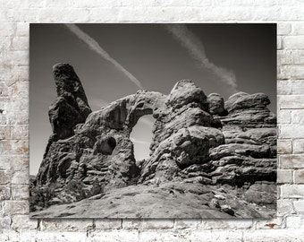 Arches National Park Photo, The Window, Black White Photography, American Southwest Photograph, American West Desert, Utah
