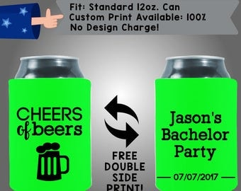 Cheers of Beers Name Bachelor Party Date Collapsible Fabric Bachelor Party Can Cooler Double Side Print (Bach14)