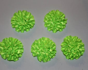 Satin Ribbon Peony Flowers/ Lime Green/ Wedding Decor/ Crafts