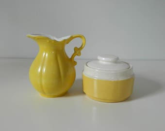 Yellow Ceramic Container with Lid, Sugar Bowl, Boho, Bohemian, Mid Century