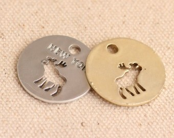 10pcs ,New York Round Shaped Elk Animal Charms, 22*22mm, Dark Gold/Dark Silver Available