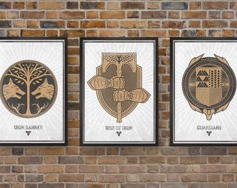 Destiny Video Game Posters, Set of Three Banner Prints, Iron Banner, Rise of Iron & Guardians Print