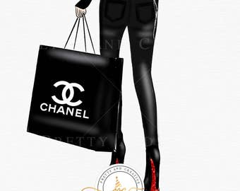 Chanel Girl Clipart, Fashion Illustration, Loubotin Clipart, Chanel Clipart, Chanel Bag, Fashion Style, Glam Girl, Fashion Blogger,