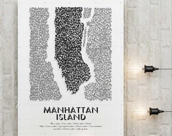 Affiche poster graphic design City travel retro illustration map Manhattan