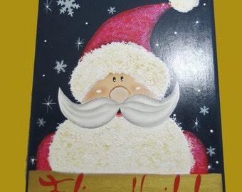 Santa Christmas Wood Key Holder, Feliz Navidad
