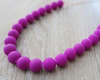 Bright Purple Glass Bead Necklace - Adjustable Length - Cotton
