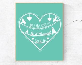 Mr & Mrs print, Wedding gift, Just married print, Marriage print, Wedding wall art