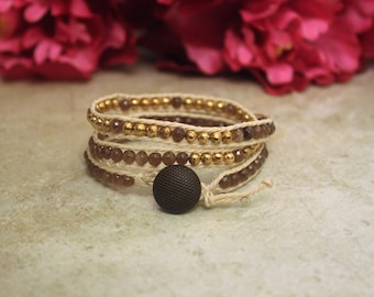 Brown Leather Natural Stone Bracelet