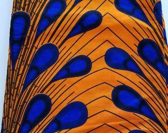 Orange & Blue African Fabric; Ankara Fabric; African Clothing; African Fabric in yard; African Headwrap;Ankara Fabric; Electric Bulb Fabric