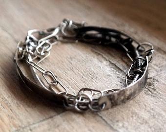 Multi-strand, Sterling Silver Bracelet, Bar Bracelet, Raw Silver, handmade sterling silver brancelet, unique bracelet
