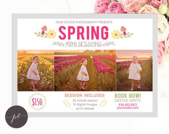 Spring Mini Session template, Spring Photography, Spring Marketing, Photoshop Template, Instant Download. Tulip Minis