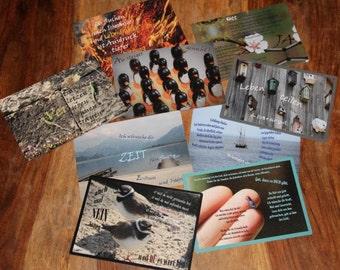 Postcards, set of share life, design postcards, appreciation, 9 maps