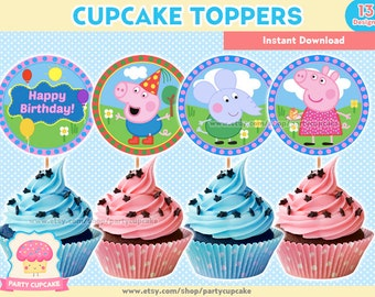 80% OFF SALE Cupcake Toppers Peppa Pig - 13 Designs - Instant Download - PDF files - High Resolution - Holiday Party