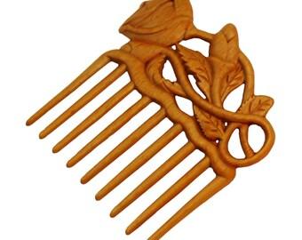 Handmade wood hair comb stick womens gift -roses
