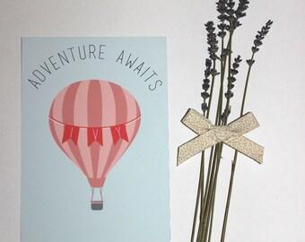 Personalised hot air balloon adventure awaits quote print nursery decor playroom