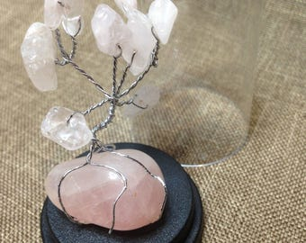 Miniature Tree of Life in Rose Quartz, on a Tumbled Rose Quartz Stone - 5 cm in a 6 cm Dome