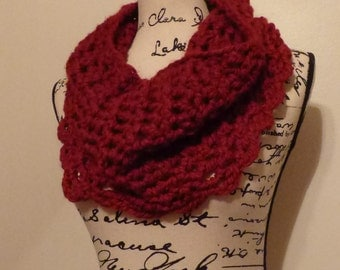 """10"""" wide NO wool Cranberry Cowl.  Infinity Scarf.  Crochet.  Homemade"""
