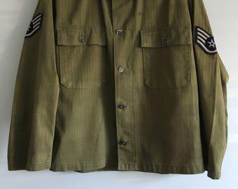 vintage wwii korean war herringbone us army us airforce 13 star metal button shirt