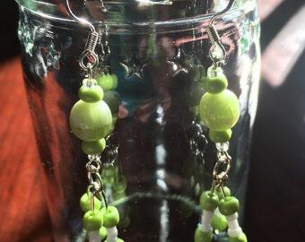 Glass Beaded Green Apple Earrings