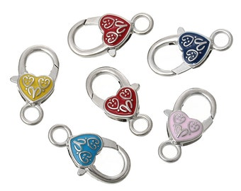 5+ pcs heart shaped lobster clasp in multi-color