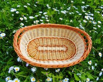 Bread Basket, Wicker Basket, Willow Fruit Basket, Centerpiece Basket, Small Basket, Storage Basket, Shallow Basket, Ottoman Tray, Basket