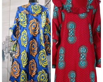 High Neck Midi Dress with Ankara Print