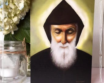 "St. Charbel© 5""x7"" large prayer card."